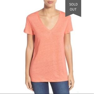 Caslon Linen Knit V Neck Coral Tee Petite Small